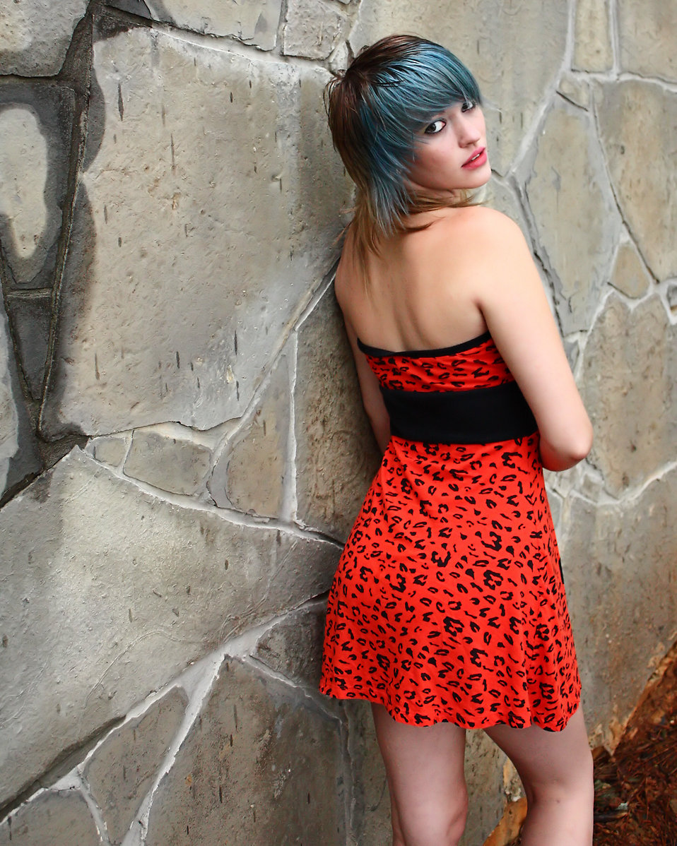 A beautiful young woman posing in a red dress against a stone wall : Free Stock Photo
