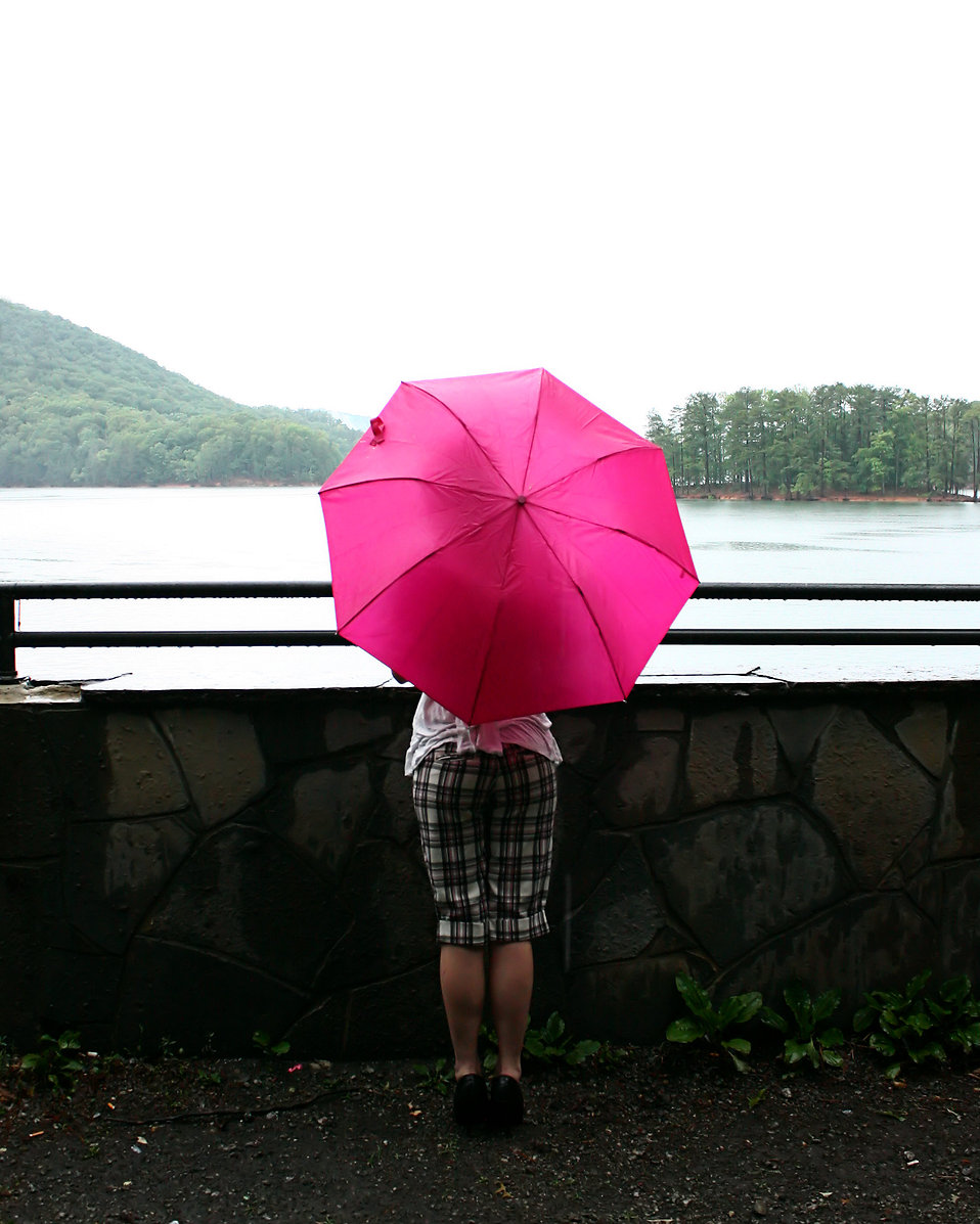 A beautiful young woman looking over a lake holding an umbrella : Free Stock Photo