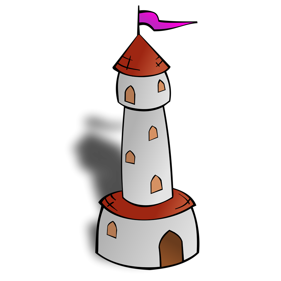 Illustration of a cartoon castle tower with flag : Free Stock Photo