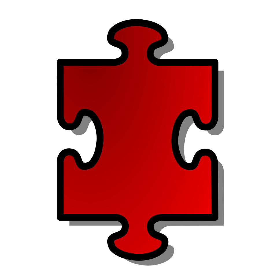 Illustration of a red puzzle piece with a transparent background.