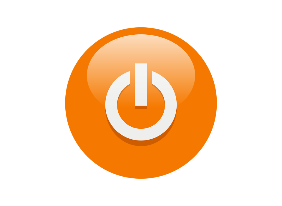 Illustration of an orange power button icon : Free Stock Photo
