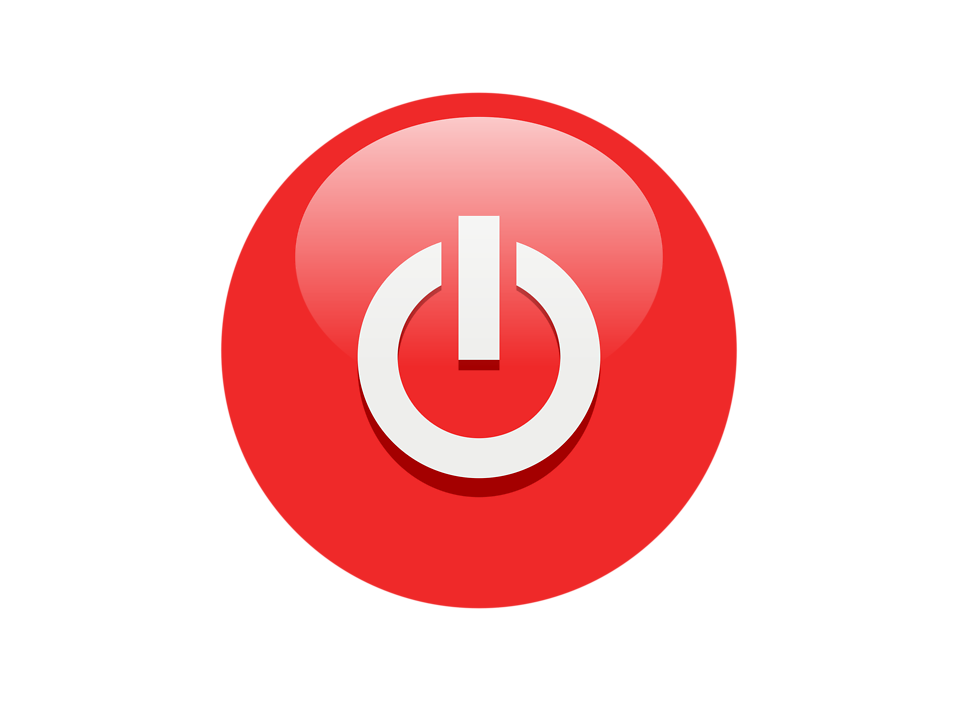 Illustration of a red power button icon with a transparent background.