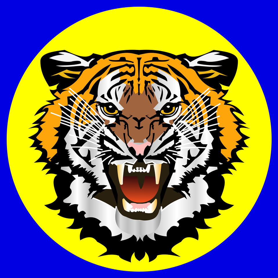 Illustration of a growling tiger in a yellow circle.