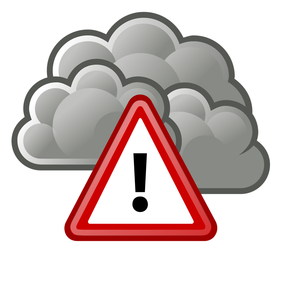 Illustration of a stormy cloud with a warning symbol : Free Stock Photo