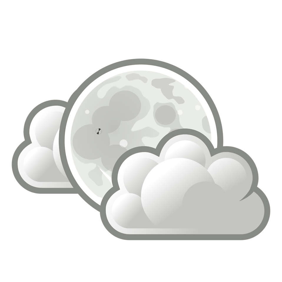 Illustration of the full moon with clouds : Free Stock Photo