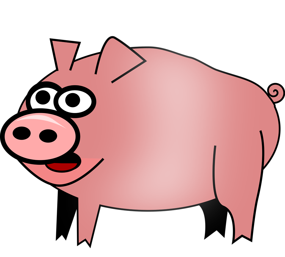 Illustration of cartoon pig : Free Stock Photo