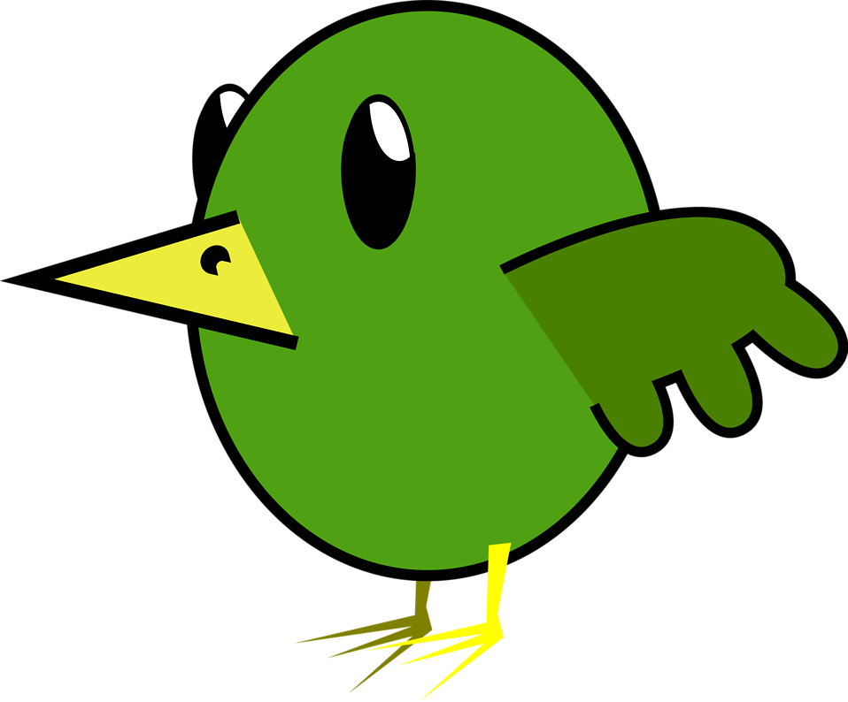 Illustration of a green cartoon bird : Free Stock Photo