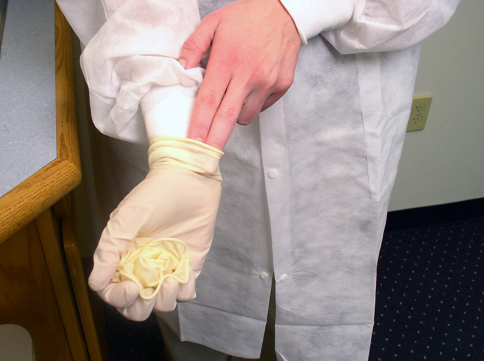 A lab technician pulling off disposable gloves : Free Stock Photo