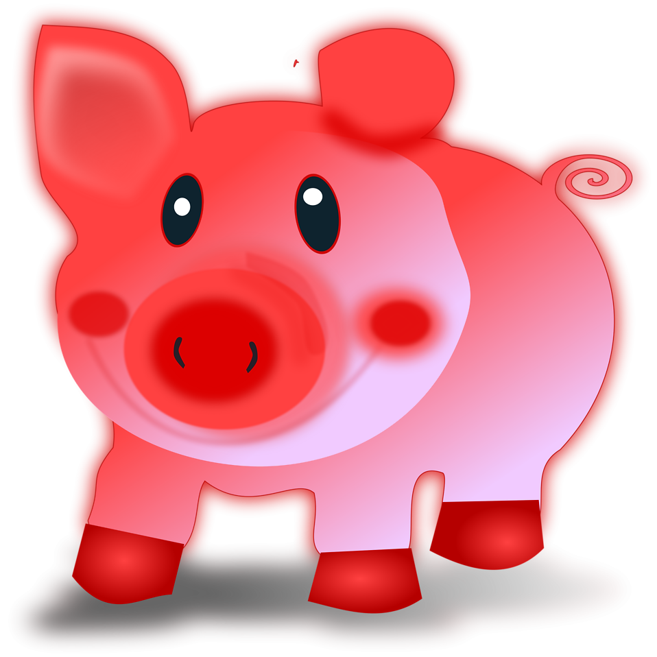Illustration of a cartoon pig : Free Stock Photo