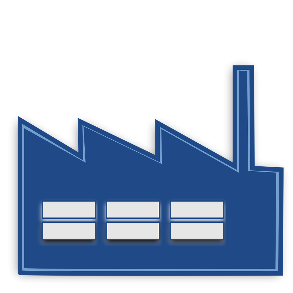Illustration of a blue factory : Free Stock Photo