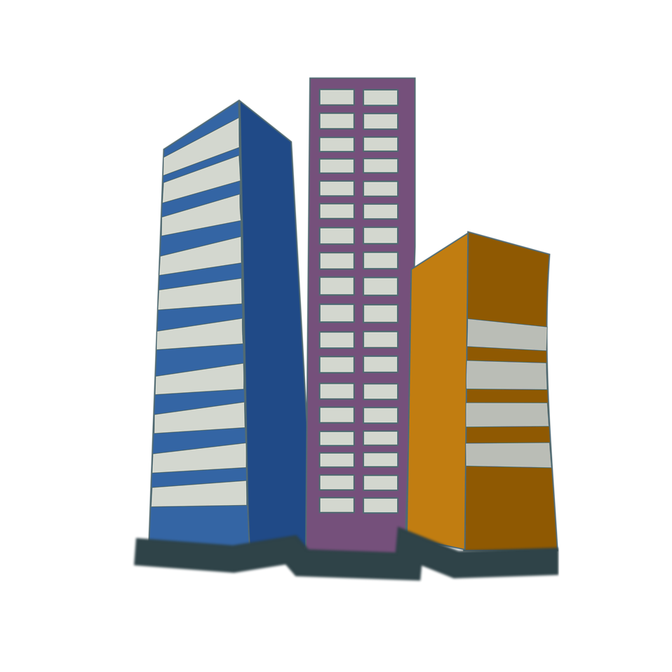 Illustration of office buildings in a city : Free Stock Photo