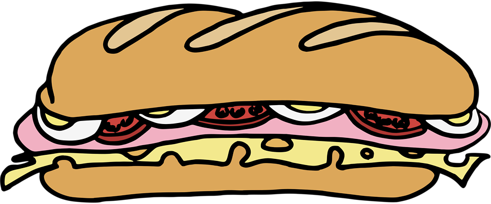 Illustration of a sandwich with a transparent background.