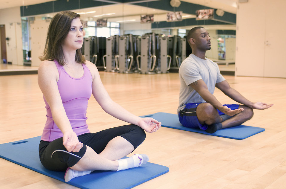 A man and woman practicing yoga in a fitness center : Free Stock Photo