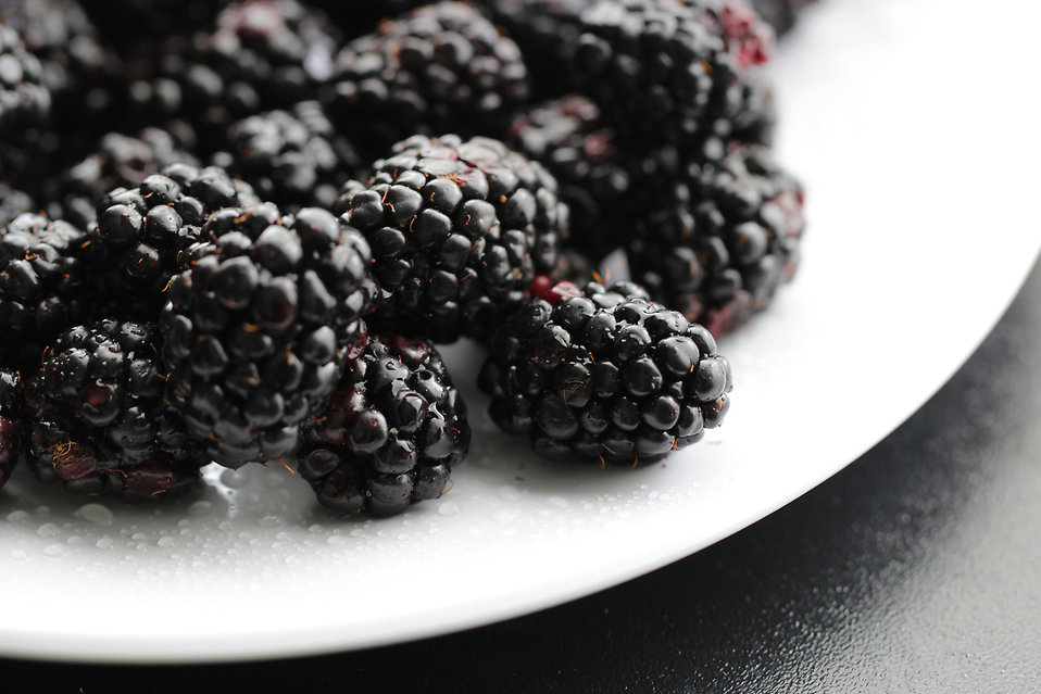 Closeup of a plate of blackberries : Free Stock Photo