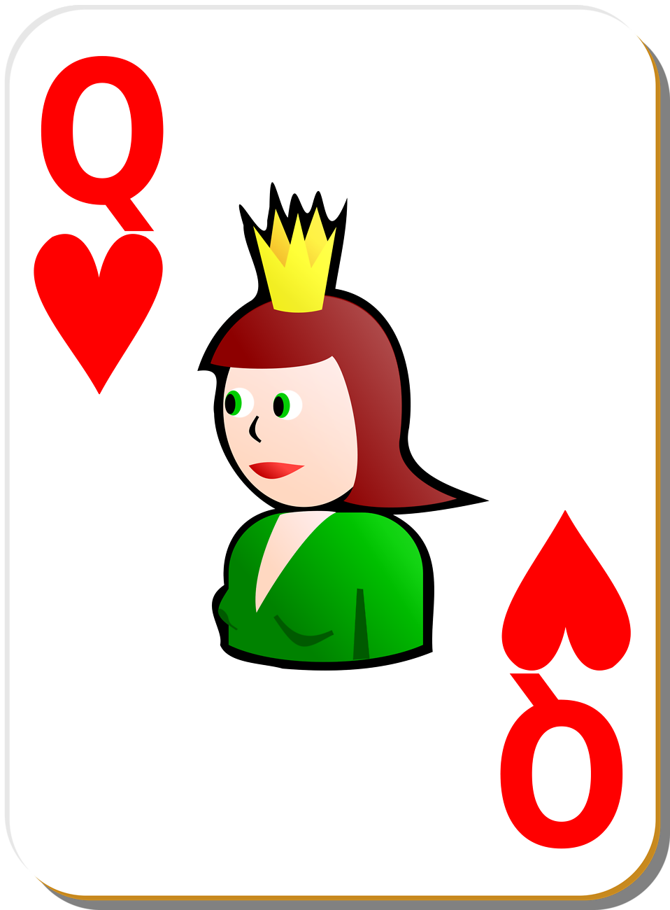 Illustration of a Queen of Hearts playing card : Free Stock Photo