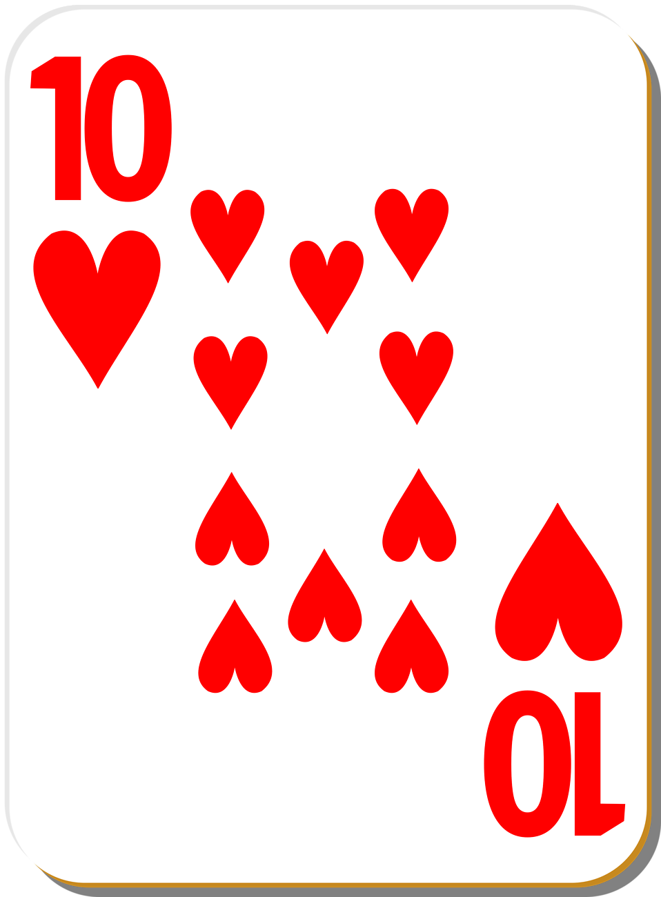 Illustration of a Ten of Hearts playing card : Free Stock Photo