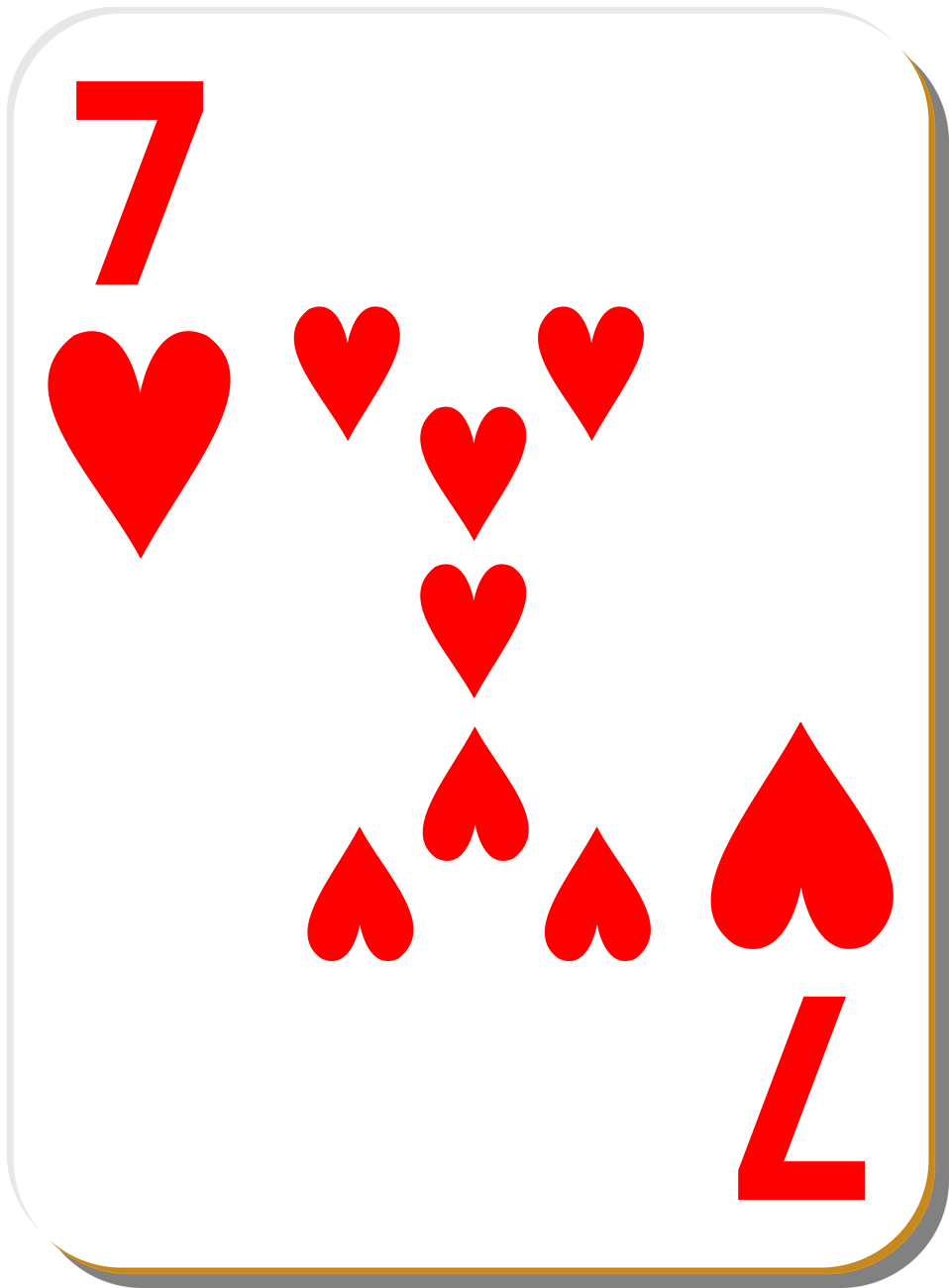 Illustration of a Seven of Hearts playing card : Free Stock Photo