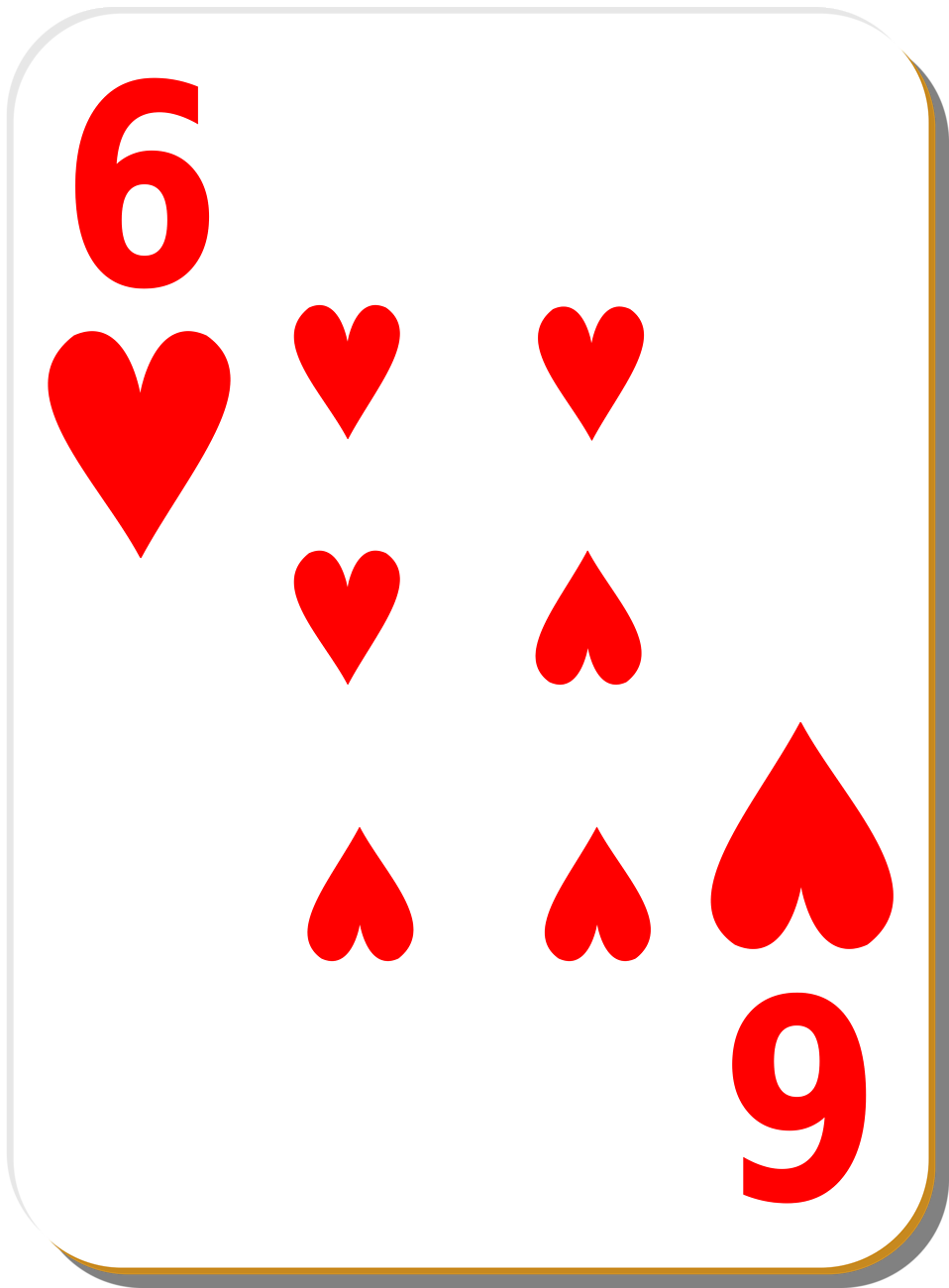 Illustration of a Six of Hearts playing card : Free Stock Photo