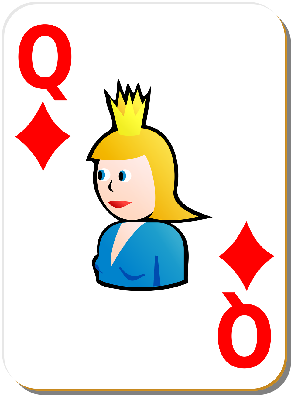 Illustration of a Queen of Diamonds playing card : Free Stock Photo