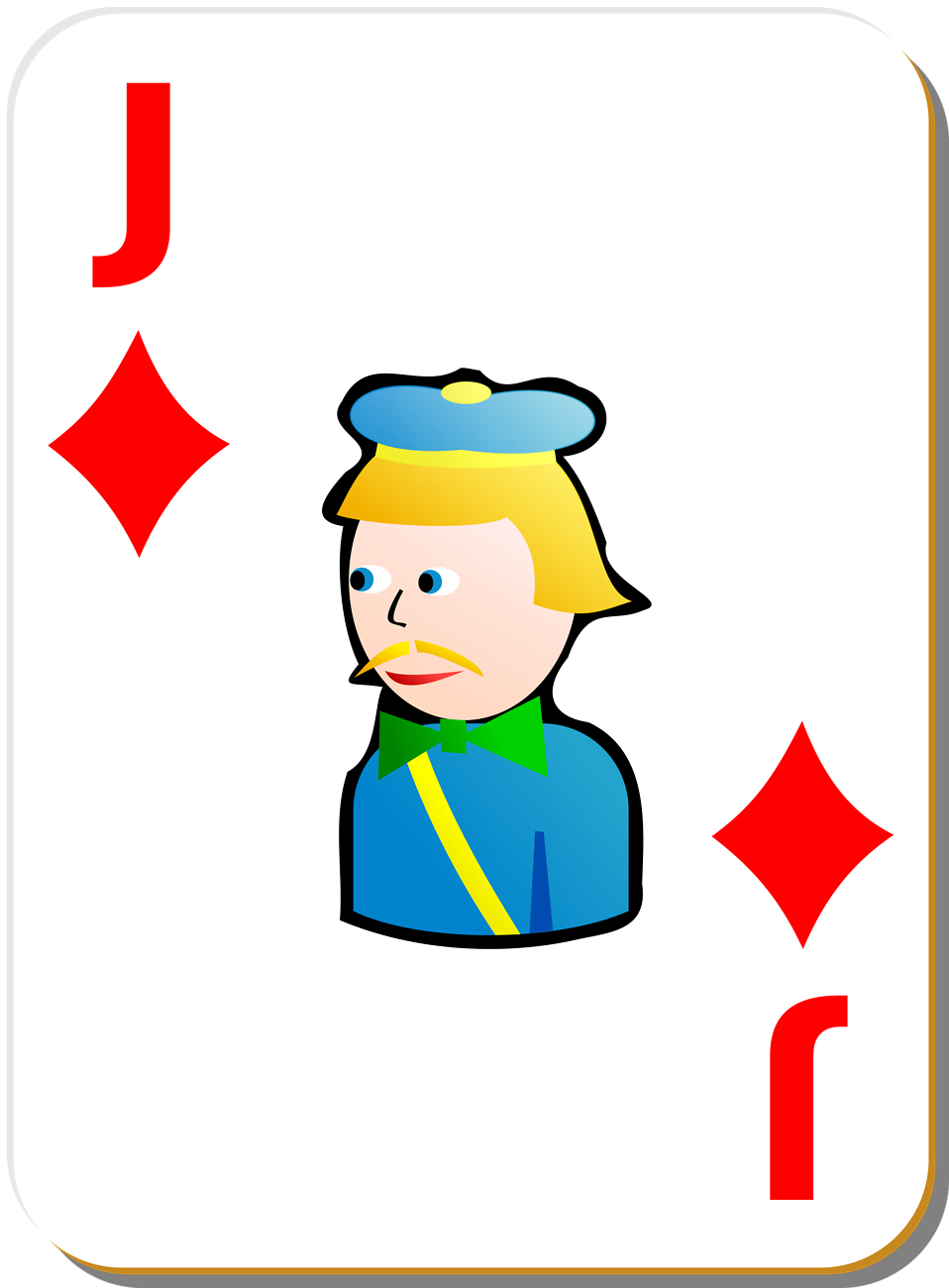 Illustration of a Jack of Diamonds playing card : Free Stock Photo