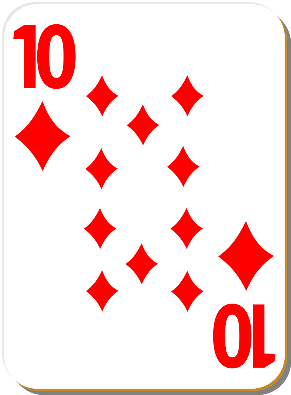 Illustration of a Ten of Diamonds playing card : Free Stock Photo