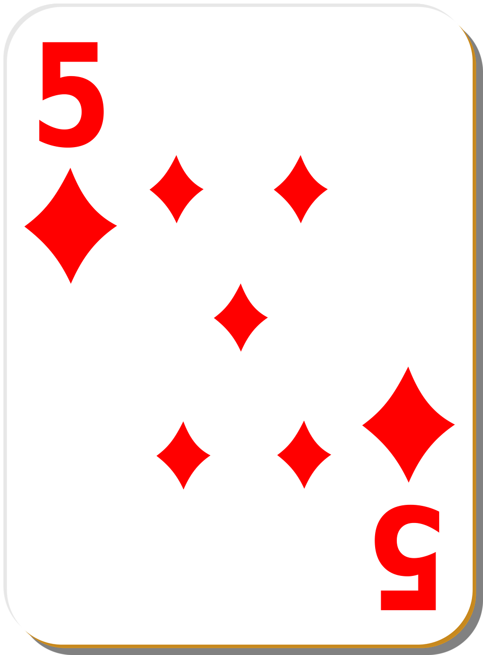 Illustration of a Five of Diamonds playing card : Free Stock Photo