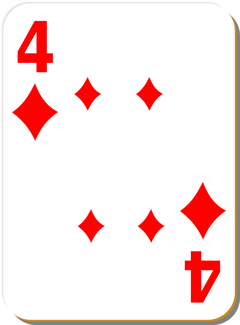 Illustration of a Four of Diamonds playing card : Free Stock Photo