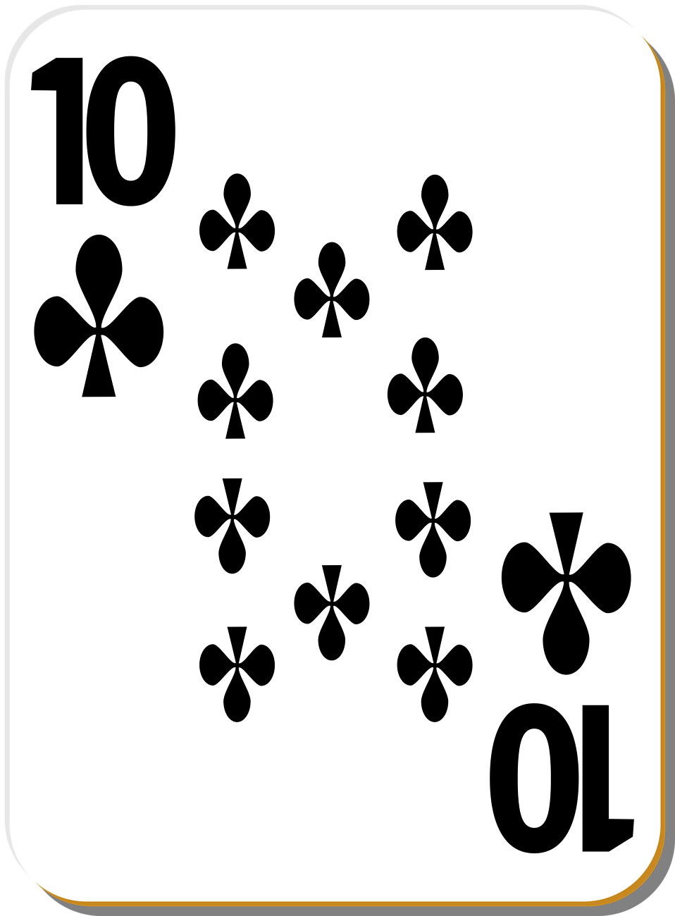 Illustration of a Ten of Clubs playing card : Free Stock Photo