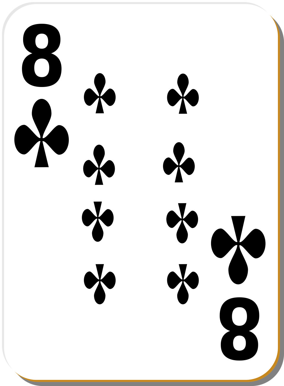 Illustration of an Eight of Clubs playing card : Free Stock Photo