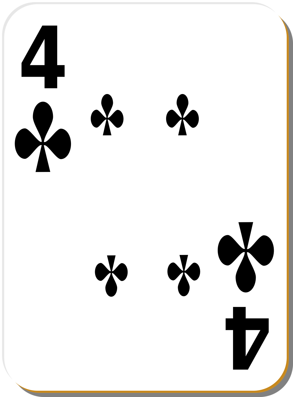 Illustration of a Four of Clubs playing card : Free Stock Photo