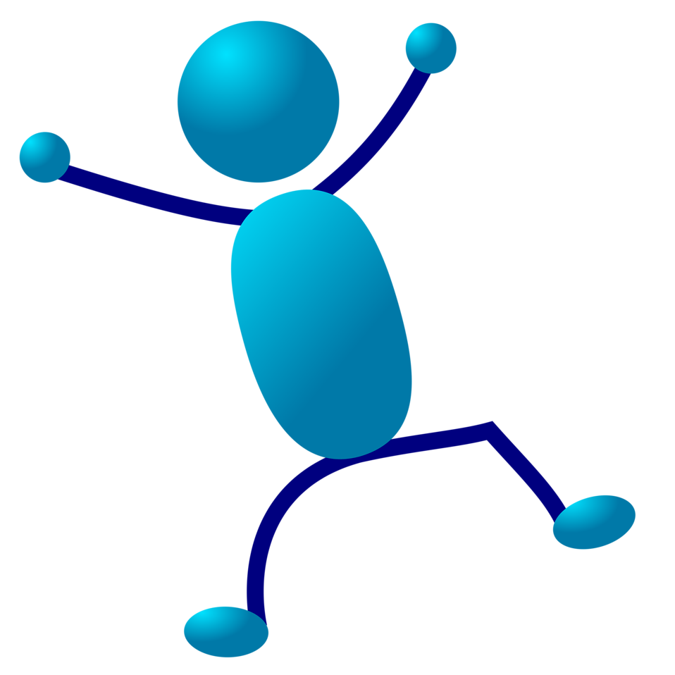 Illustration of a dancing cartoon blue man : Free Stock Photo