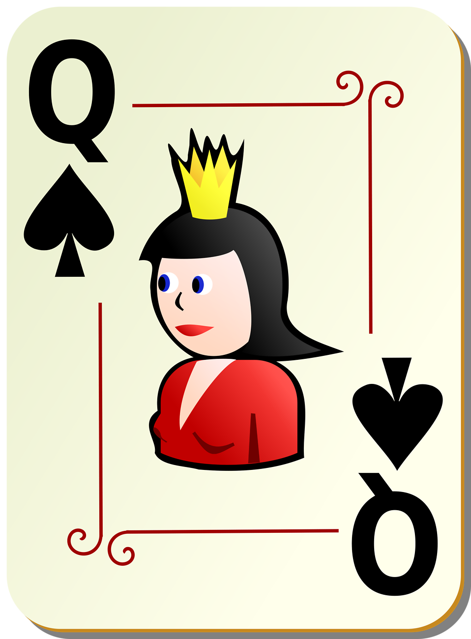 Illustration of a Queen of Spades playing card : Free Stock Photo