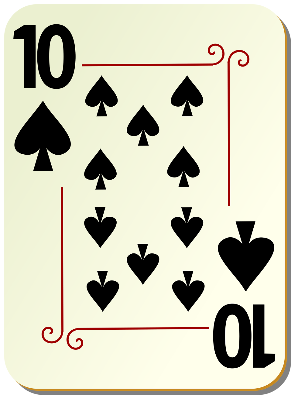 Illustration of a Ten of Spades playing card : Free Stock Photo