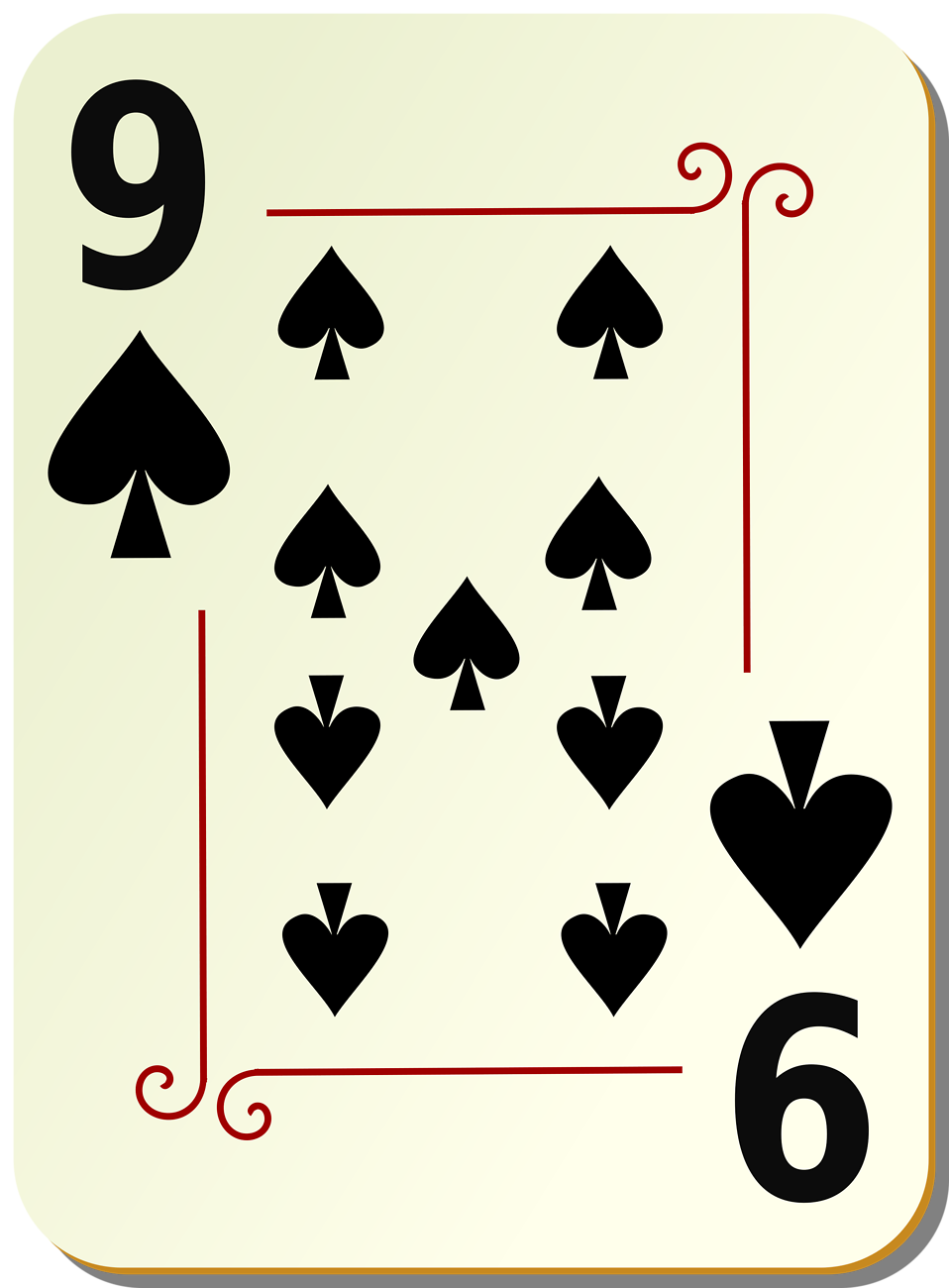 Illustration of a Nine of Spades playing card : Free Stock Photo