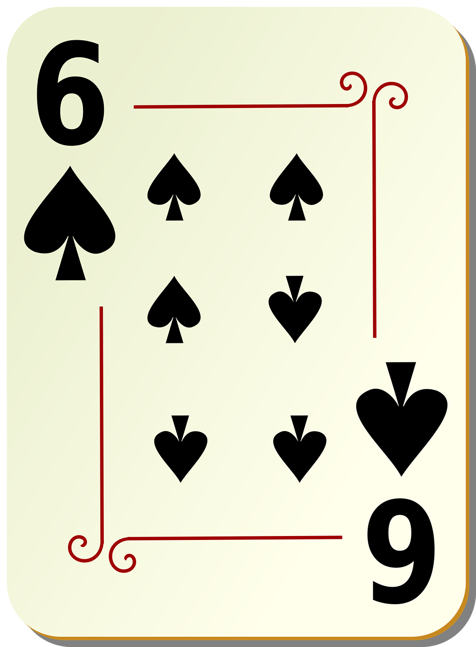Illustration of a Six of Spades playing card : Free Stock Photo