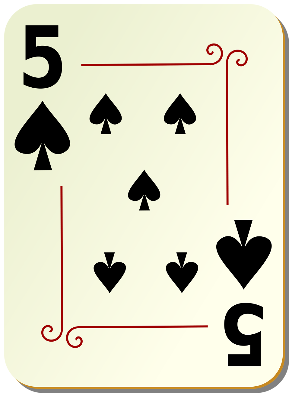 Illustration of a Five of Spades playing card : Free Stock Photo