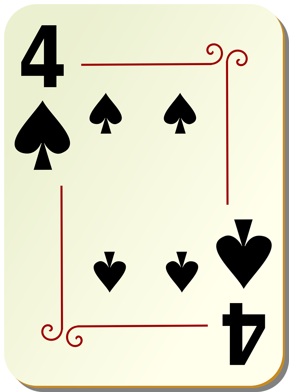 Illustration of a Four of Spades playing card : Free Stock Photo