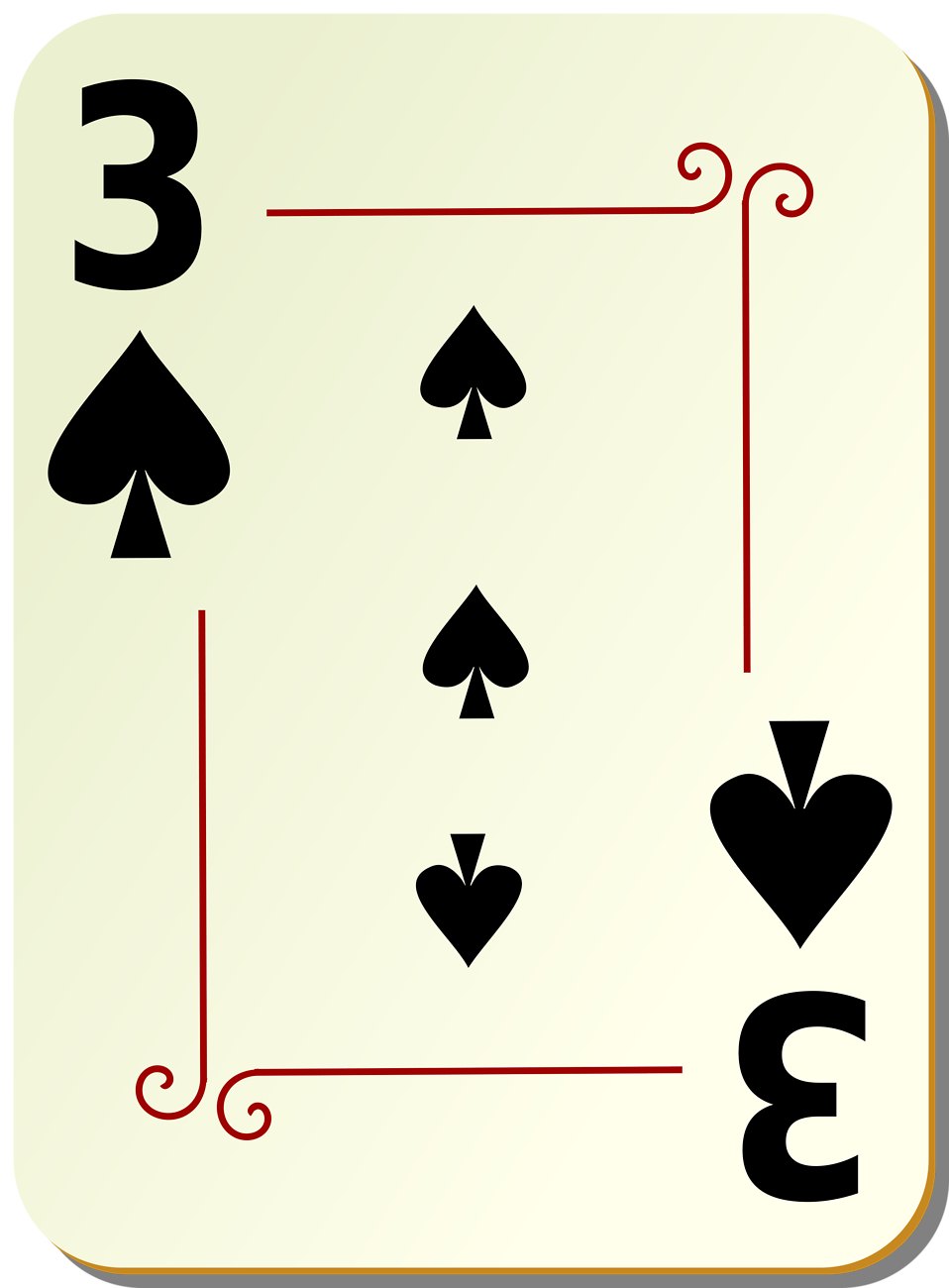 Illustration of a Three of Spades playing card : Free Stock Photo