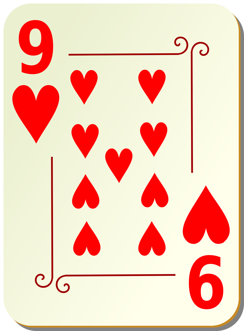 Illustration of a Nine of Hearts playing card : Free Stock Photo