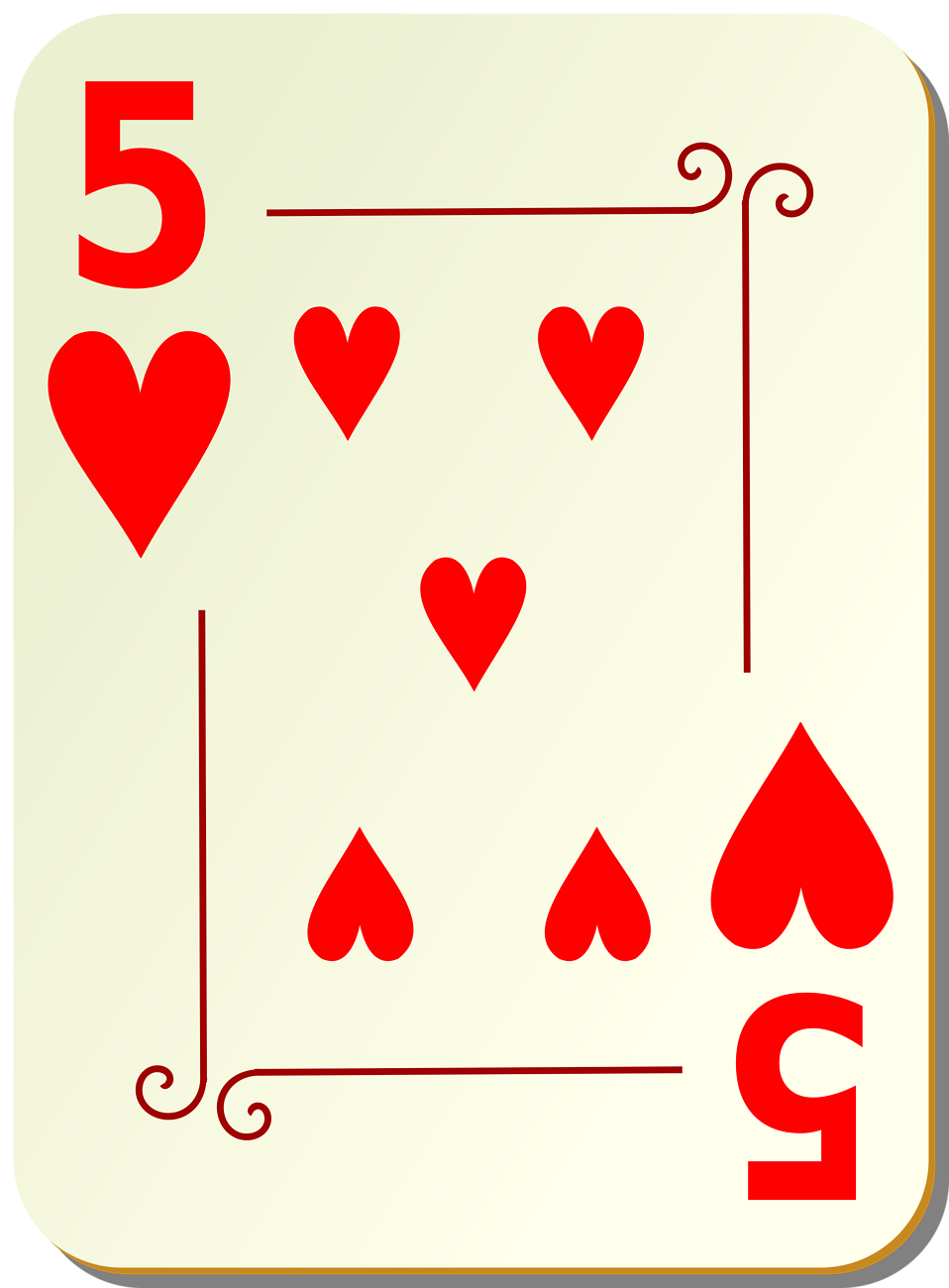 Illustration of a Five of Hearts playing card : Free Stock Photo