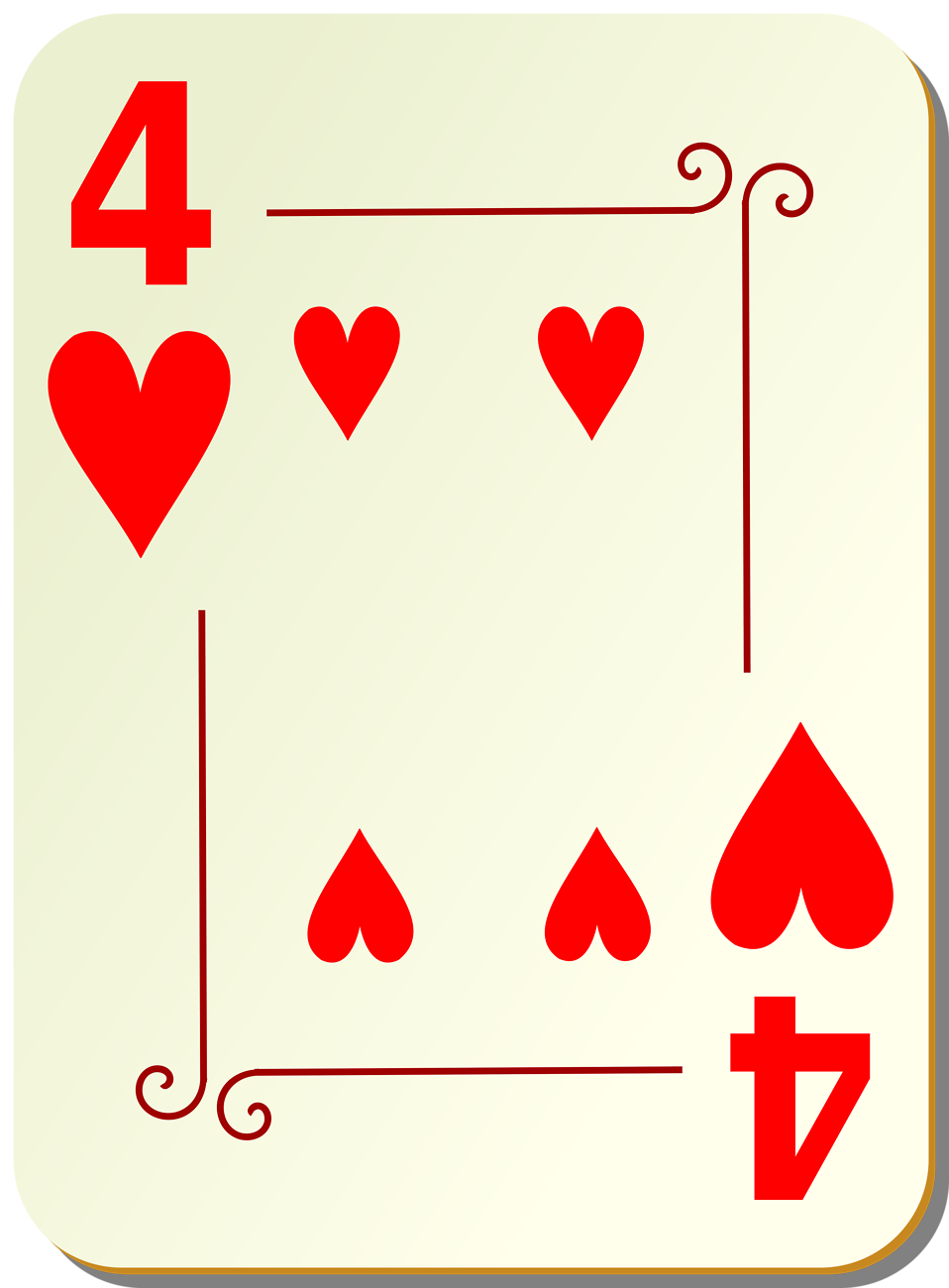 Illustration of a Four of Hearts playing card : Free Stock Photo