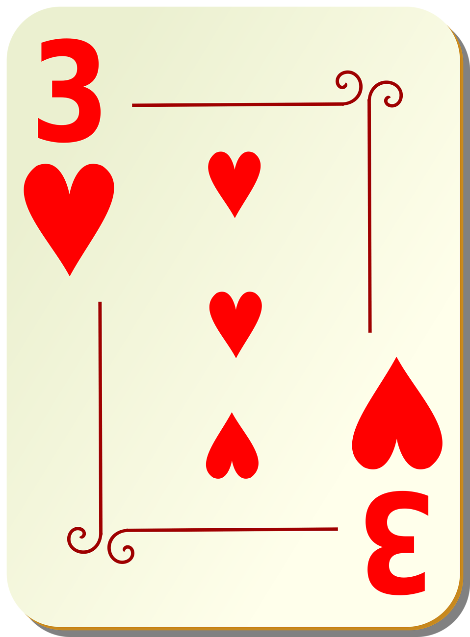 Illustration of a Three of Hearts playing card : Free Stock Photo