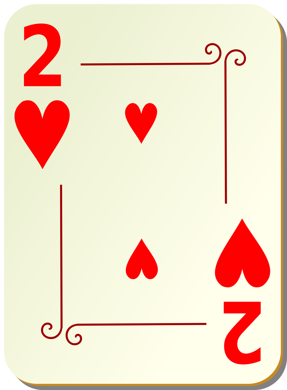 Illustration of a Two of Hearts playing card : Free Stock Photo