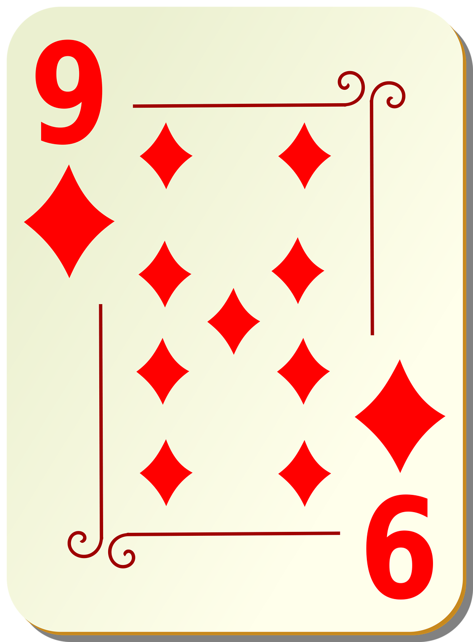 Illustration of a Nine of Diamonds playing card : Free Stock Photo