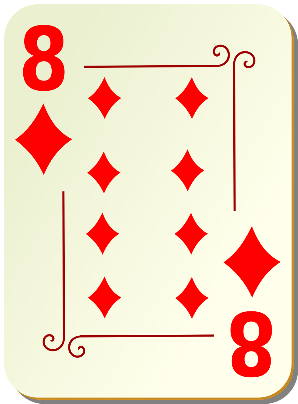 Illustration of an Eight of Diamonds playing card : Free Stock Photo