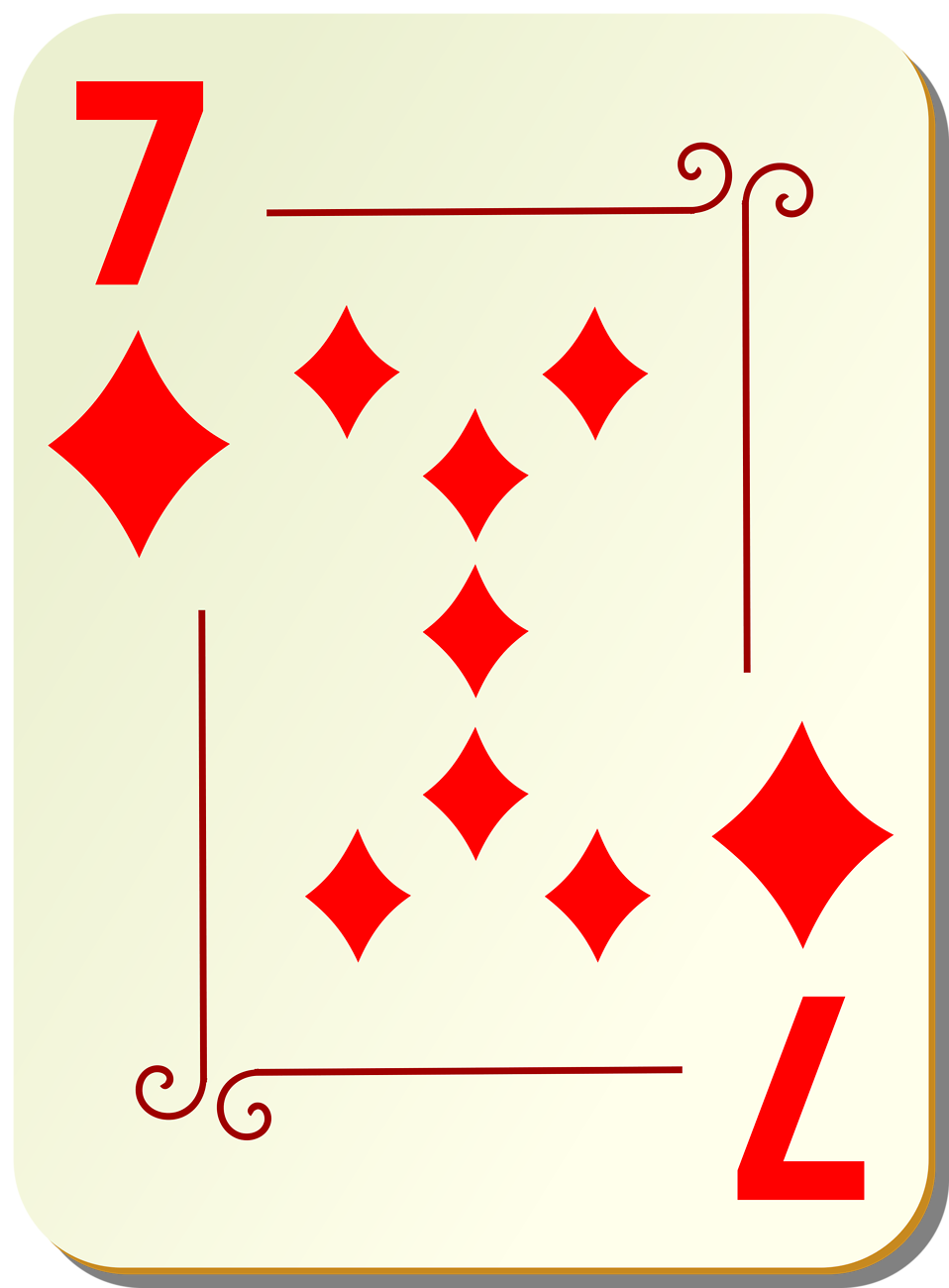 Illustration of a Seven of Diamonds playing card : Free Stock Photo