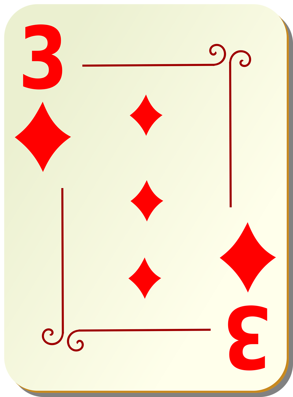 Illustration of a Three of Diamonds playing card : Free Stock Photo