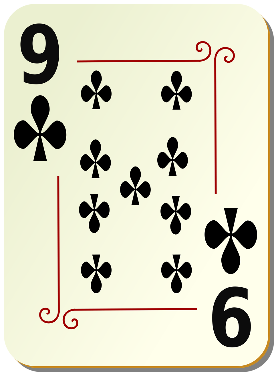 Illustration of a Nine of Clubs playing card : Free Stock Photo
