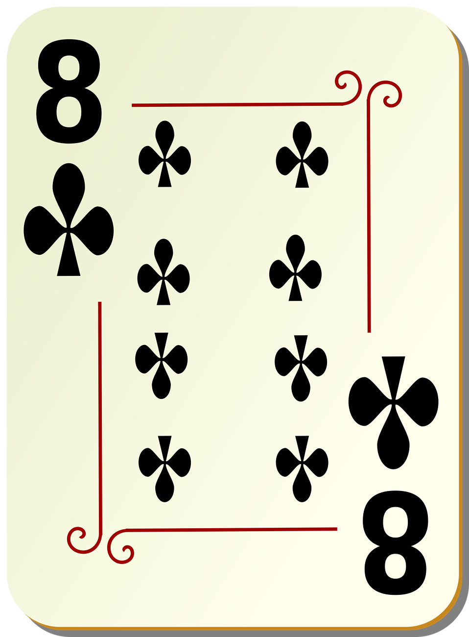 Illustration of a Eight of Clubs playing card : Free Stock Photo