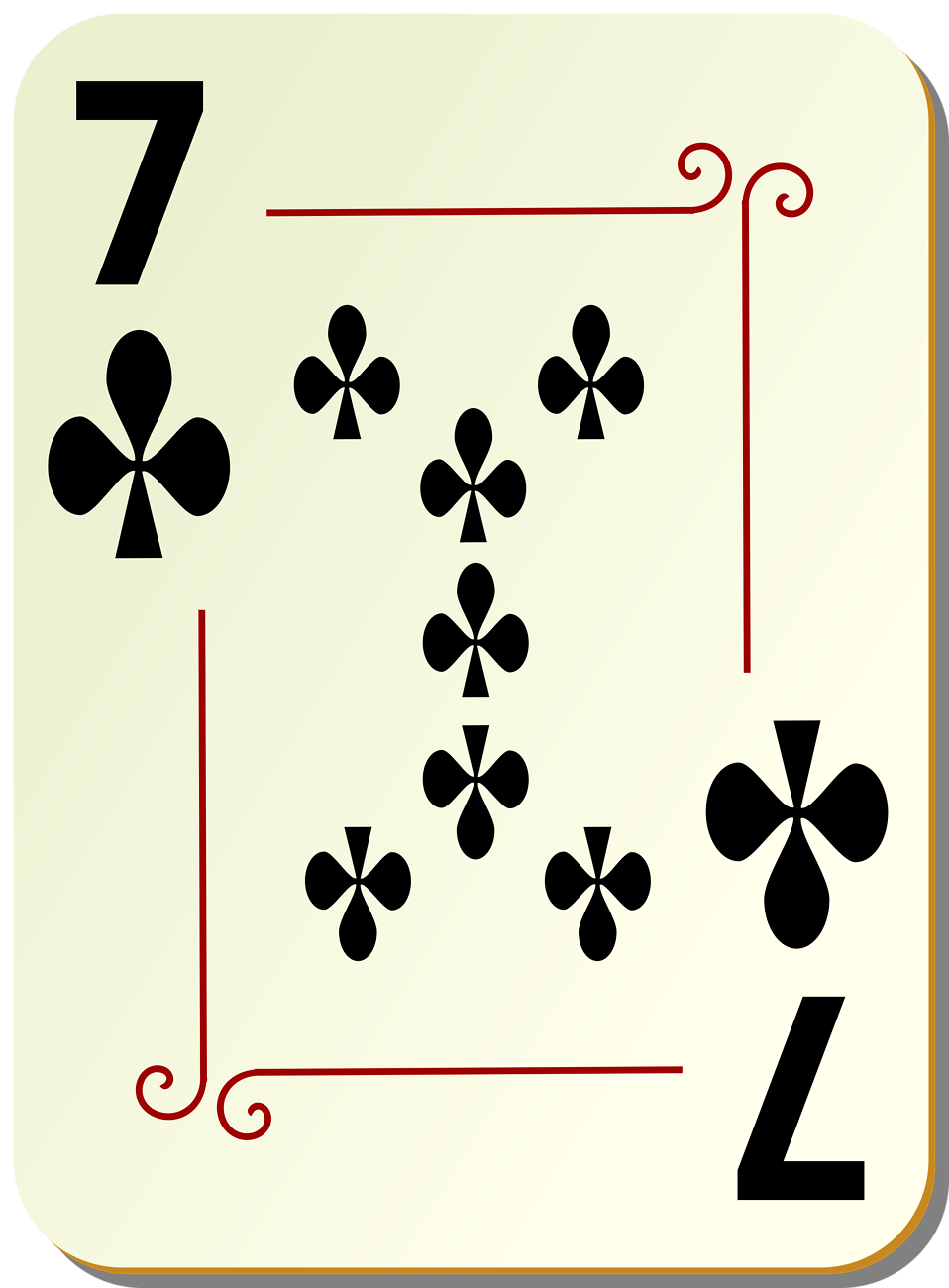 Illustration of a Seven of Clubs playing card : Free Stock Photo